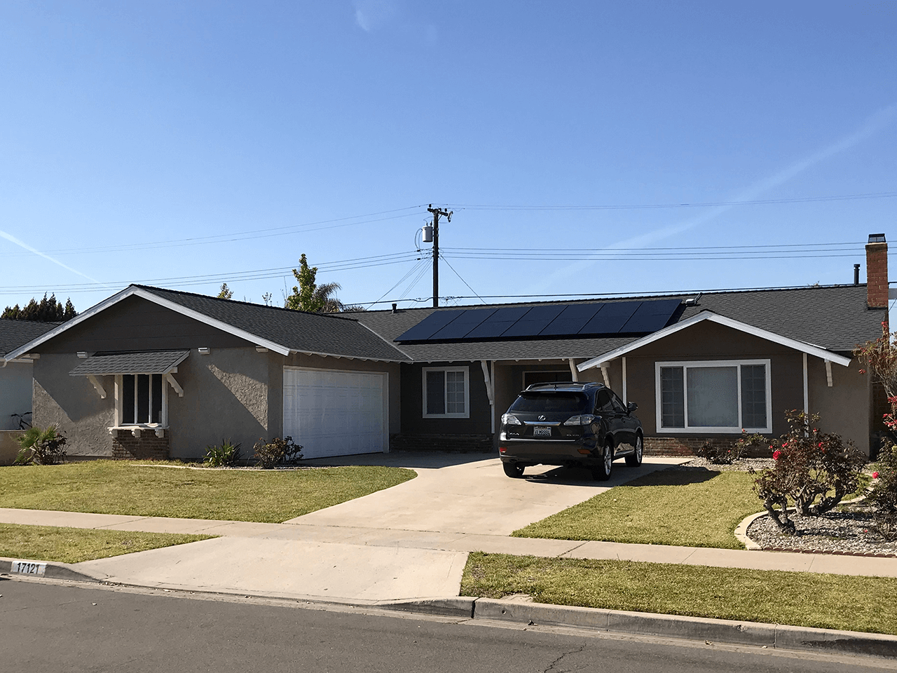 Home with solar panel installed on roof