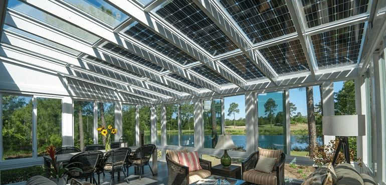 solar panel roof in awning